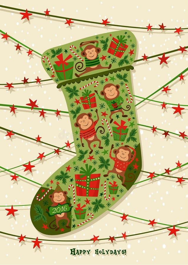 Cartão do ano novo com peúga do Natal, ilustrações Bom para o calendário, a tampa do caderno, o cartaz ou os convites do partido ilustração stock