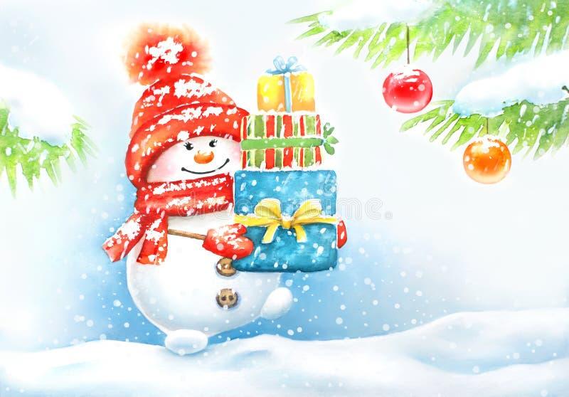 Cartão do ano novo da aquarela com boneco de neve bonito ilustração royalty free