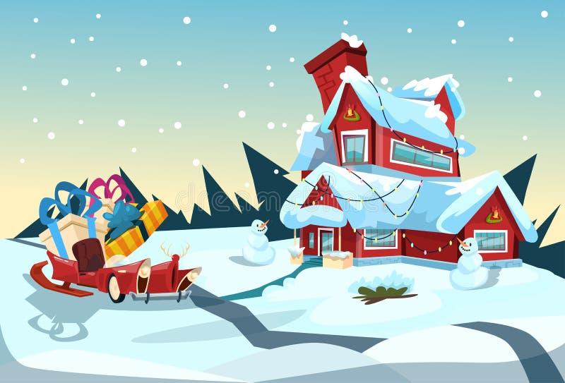 Cartão do ano novo da celebração de Santa Claus Sleigh Near House Christmas ilustração royalty free