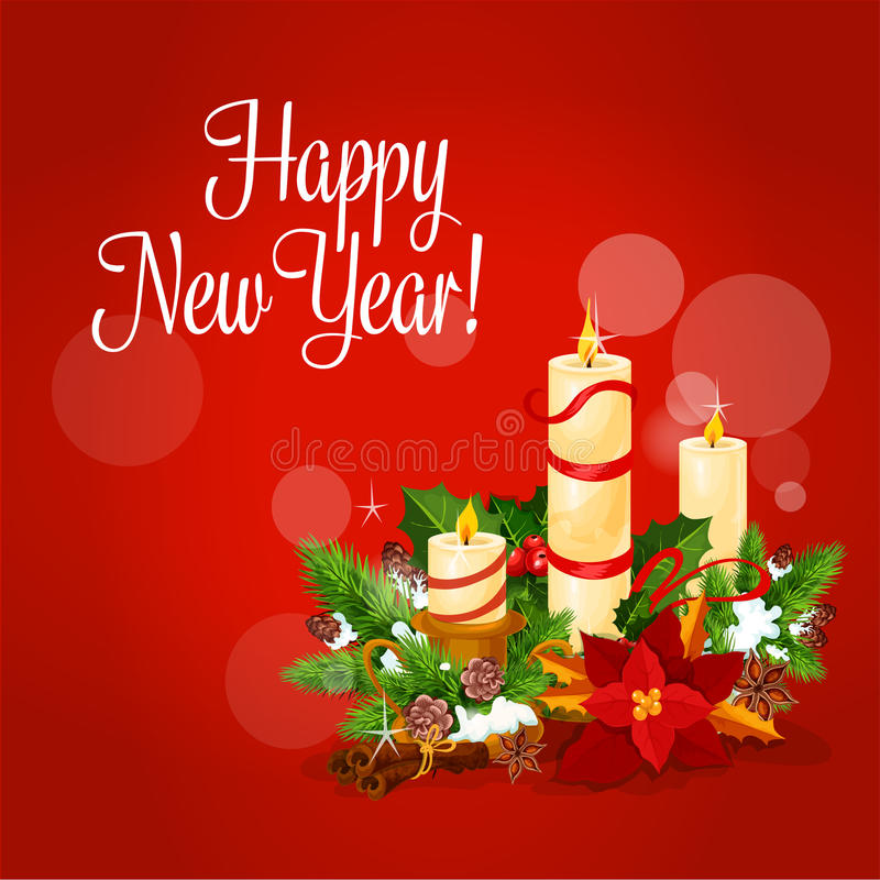 Cartão do ano novo e do Xmas com vela, azevinho, pinho ilustração royalty free
