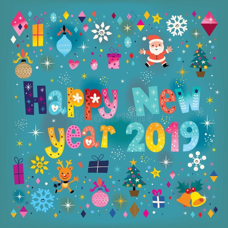Cartão 2019 do ano novo feliz ilustração do vetor