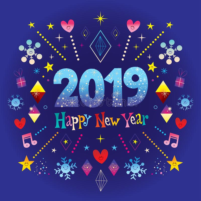 Cartão 2019 do ano novo feliz ilustração stock
