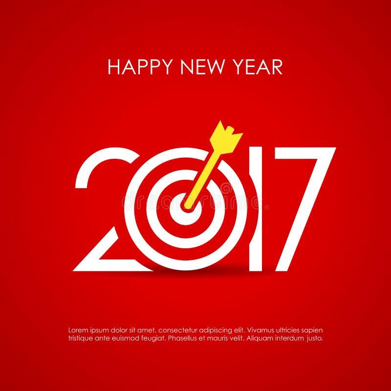 Cartão do ano novo feliz 2017 ilustração stock