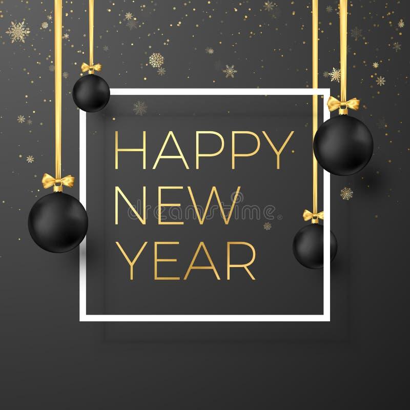 Cartão do ano novo feliz Bolas pretas do Natal com fitas douradas e texto festivo do ouro no quadro branco Ilustração do vetor ilustração do vetor