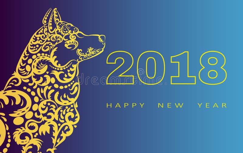 Cartão do ano 2018 novo feliz Ano do cão Ano novo chinês com mão garatujas tiradas Ilustração do vetor imagem de stock