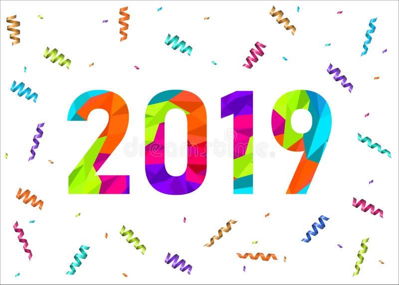 Cartão do ano 2019 novo feliz com confetes coloridos ilustração stock