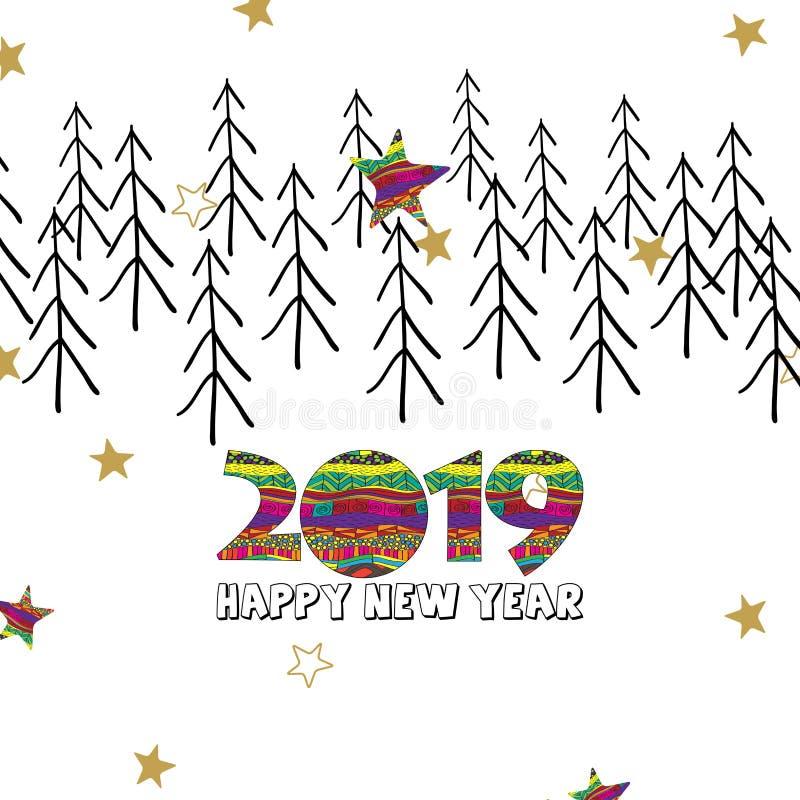 Cartão do ano novo feliz 2019 com dígitos e as estrelas criativos ilustração royalty free