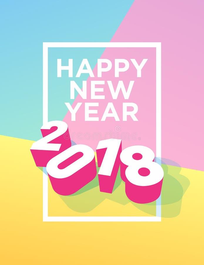Cartão 2018 do ano novo feliz com quadro e cores pasteis ilustração do vetor