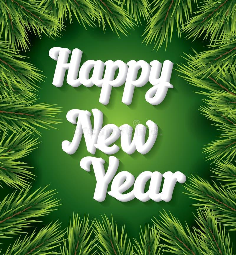 Cartão do ano novo feliz com texto branco no fundo verde ilustração stock