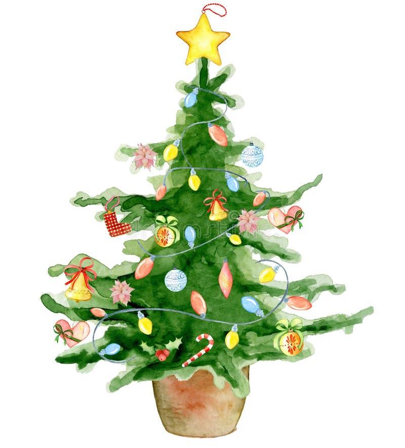 Cartão do ano novo feliz da árvore da aquarela do Feliz Natal, cartazes ilustração stock