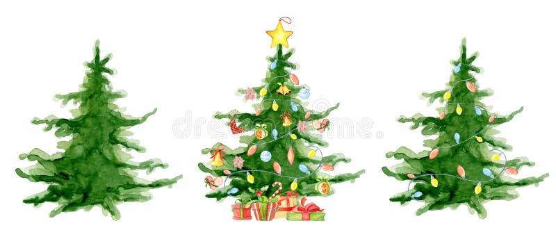 Cartão do ano novo feliz da coleção das árvores da aquarela do Feliz Natal, cartazes ilustração stock