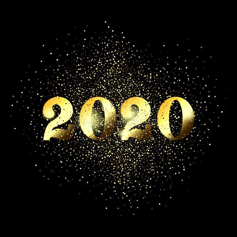 Cartão 2020 do ano novo feliz de confetes do Natal do ouro do brilho no fundo preto superior ilustração royalty free