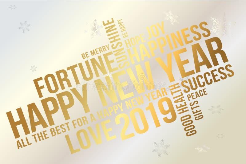 Cartão 2019 do ano novo feliz Desejos cada sucesso, felicidade, alegria, melhor de tudo, boa saúde, amor ilustração royalty free