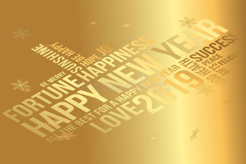 Cartão 2019 do ano novo feliz Desejos cada sucesso, felicidade, alegria, melhor de tudo, boa saúde, amor ilustração stock