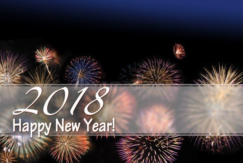 Cartão do ano novo feliz 2018 e bandeira da Web com fogos-de-artifício fotografia de stock royalty free