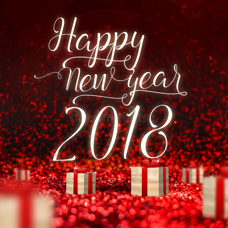 Cartão 2018 do ano novo feliz e caixa atual da madeira no sp vermelho imagens de stock