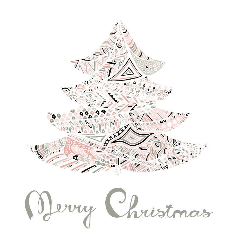 Cartão do ano novo feliz e do Feliz Natal ilustração royalty free