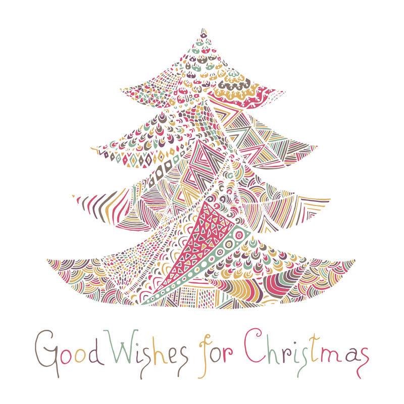 Cartão do ano novo feliz e do Feliz Natal ilustração do vetor
