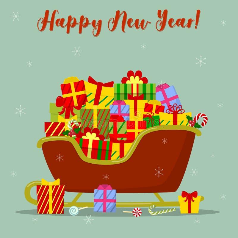 Cartão do ano novo feliz e do Feliz Natal Trenó vermelho Santa muitas caixas diferentes com os presentes para o Natal na neve ilustração stock