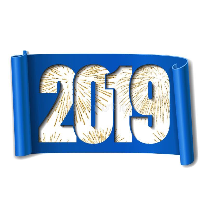 Cartão do ano novo feliz Número branco 2019, fogo de artifício do ouro Fundo branco isolado rolo Handscroll da fita azul curvado ilustração stock