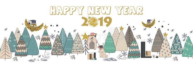 Cartão do ano novo feliz 2019 para seu projeto ilustração do vetor