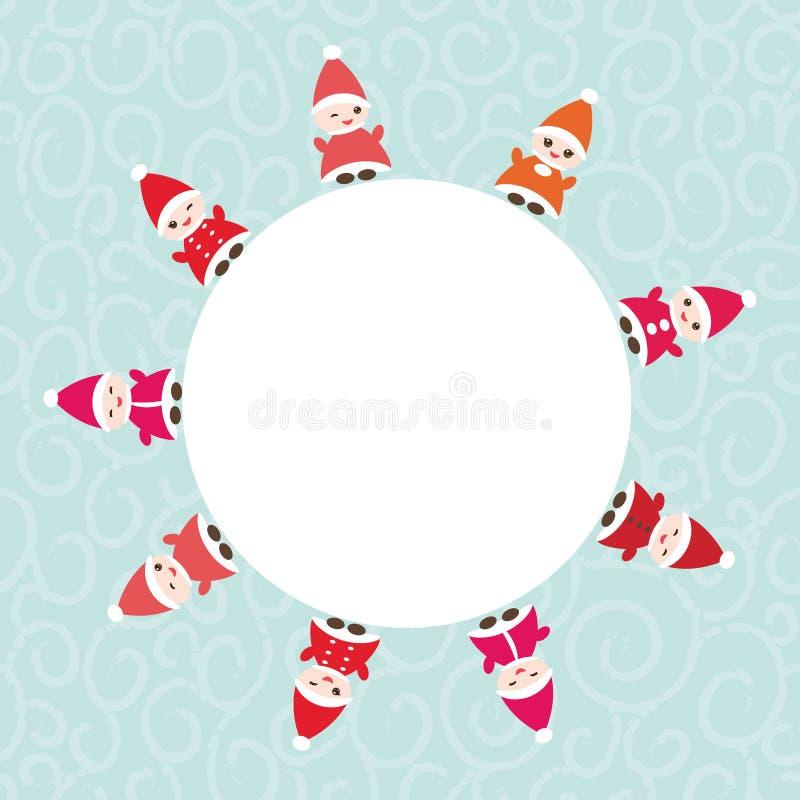 Cartão do ano novo feliz para seu quadro redondo do texto Gnomos engraçados em chapéus vermelhos no fundo azul Vetor ilustração stock