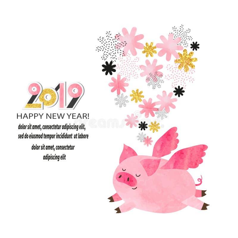 Cartão 2019 do ano novo feliz Porco bonito do voo da aquarela ilustração stock