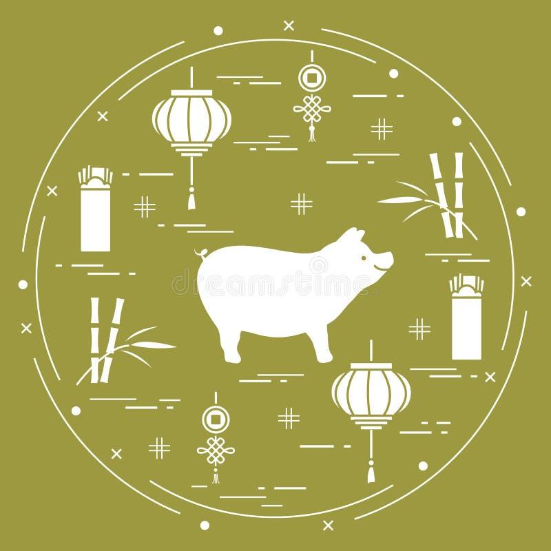 Cartão do ano novo feliz 2019 Símbolos chineses do ano novo ilustração stock