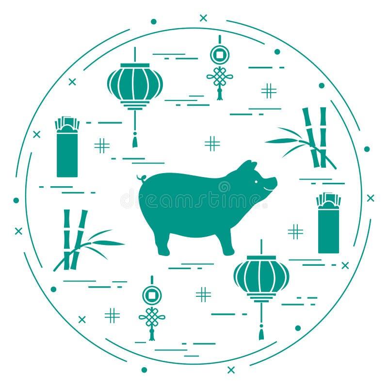Cartão do ano novo feliz 2019 Símbolos chineses do ano novo ilustração royalty free