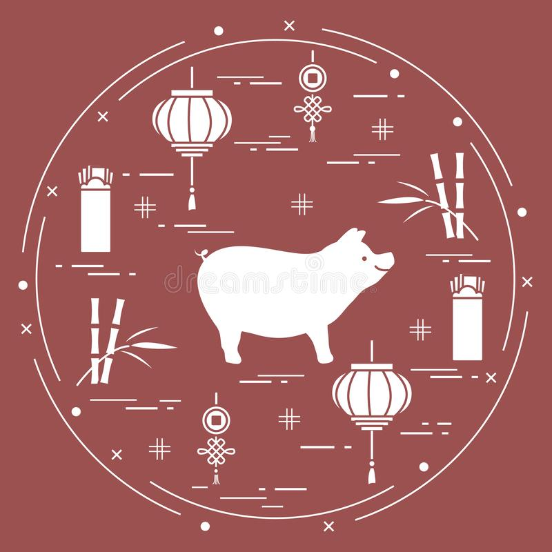 Cartão do ano novo feliz 2019 Símbolos chineses do ano novo ilustração do vetor