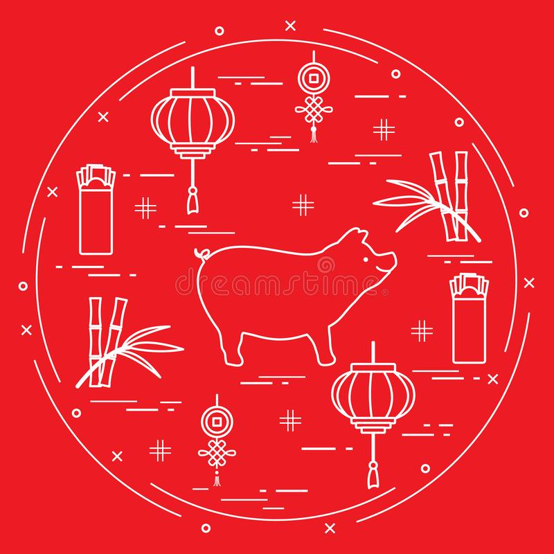 Cartão do ano novo feliz 2019 Símbolos chineses do ano novo Porco, lanterna, envelopes vermelhos chineses do dinheiro, bambu, moe ilustração do vetor