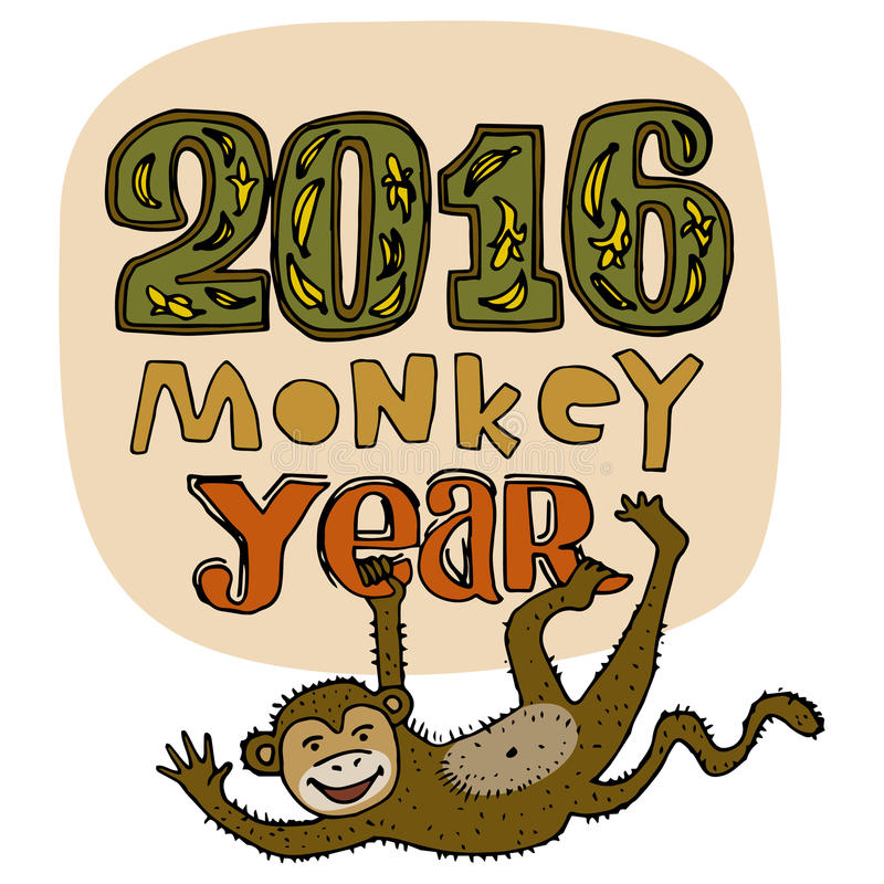 Cartão do ano novo feliz Título do ano do macaco Entregue dígitos tirados e as letras isolados no fundo Ilustração do vetor ilustração royalty free