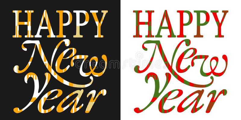 Cartão do ano novo feliz, tipografia do ano novo ilustração stock