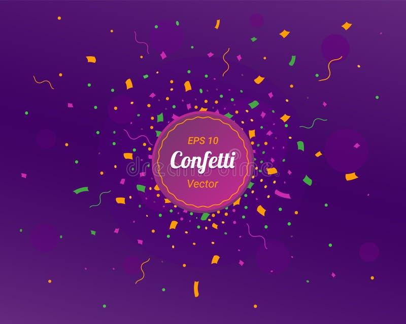 Cartão do ano novo 2019 Fundo brilhante colorido dos confetes Projeto dos círculos dos confetes Ilustração do vetor ilustração do vetor