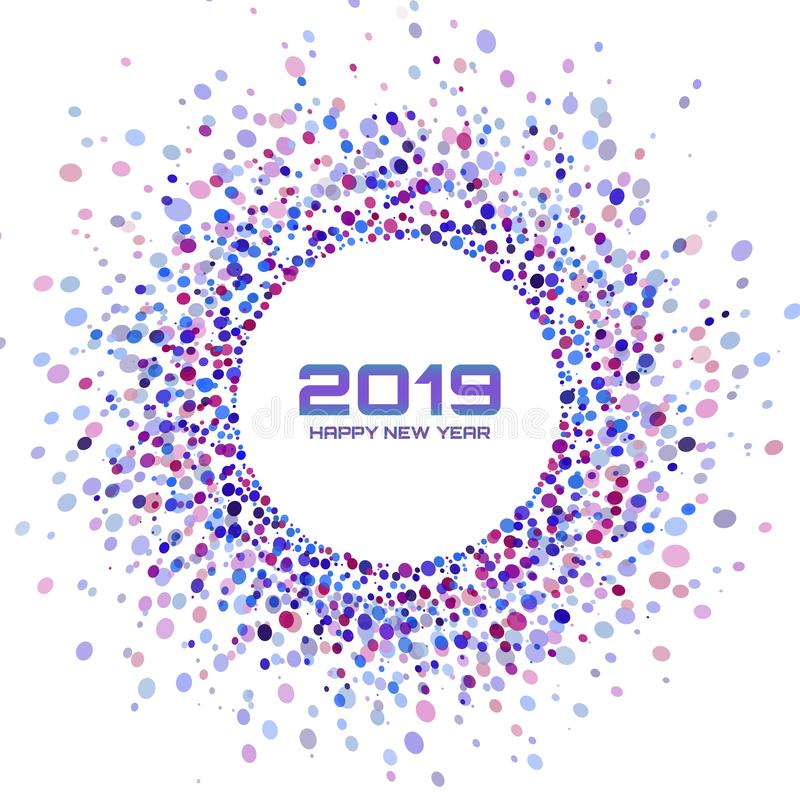 Cartão do ano novo 2019 Fundo brilhante colorido do quadro do Natal Projeto dos círculos dos confetes Ilustração do vetor ilustração stock
