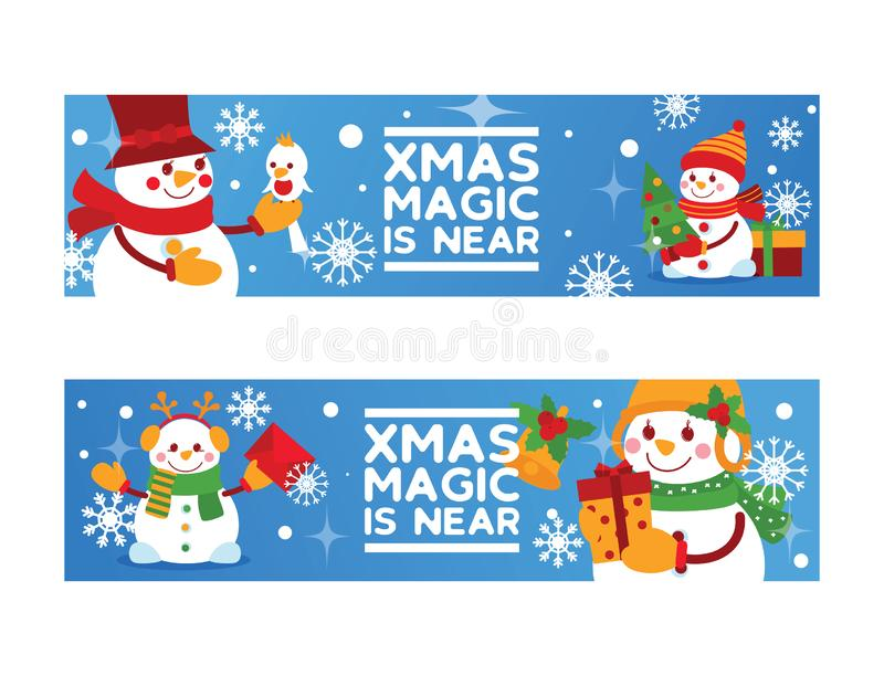 Cartão do ano novo do vetor do boneco de neve do Feliz Natal com a árvore do Xmas do caráter do neve-homem de Santa e o fundo dos ilustração do vetor