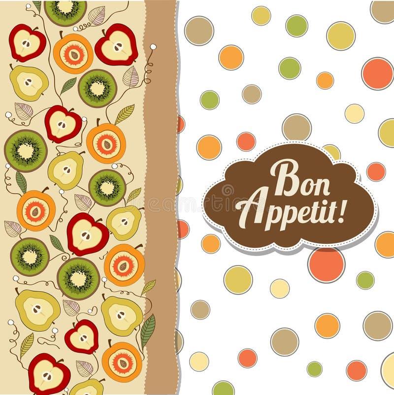 Cartão do apetite do Bon com frutos ilustração stock