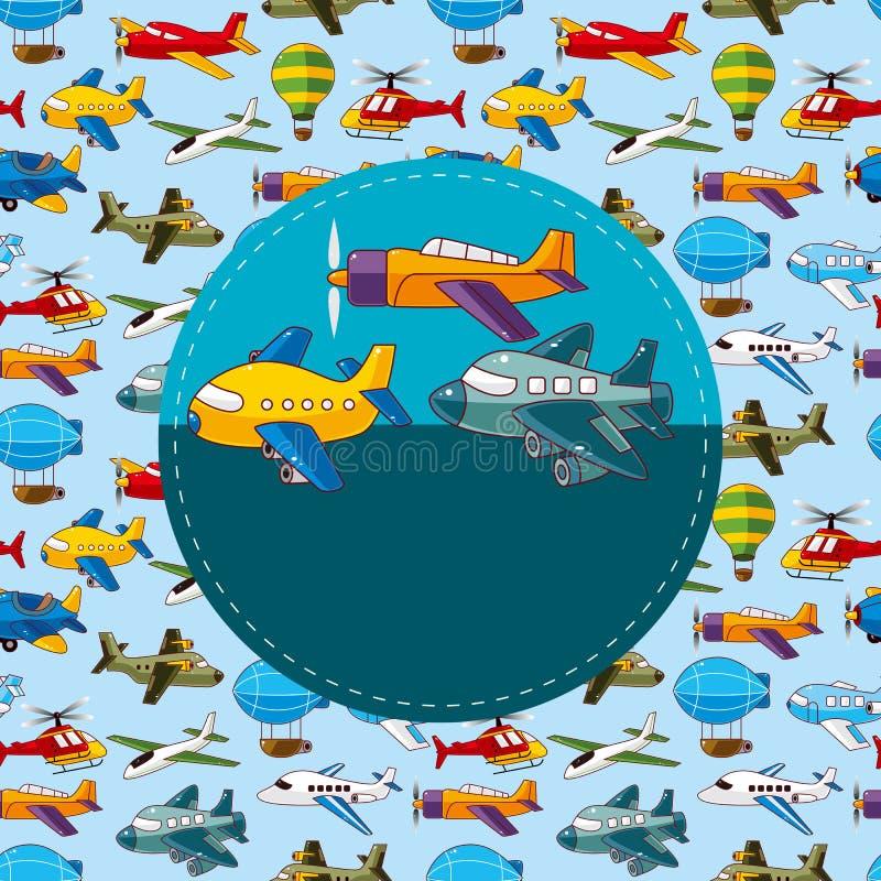 Cartão do avião dos desenhos animados ilustração stock