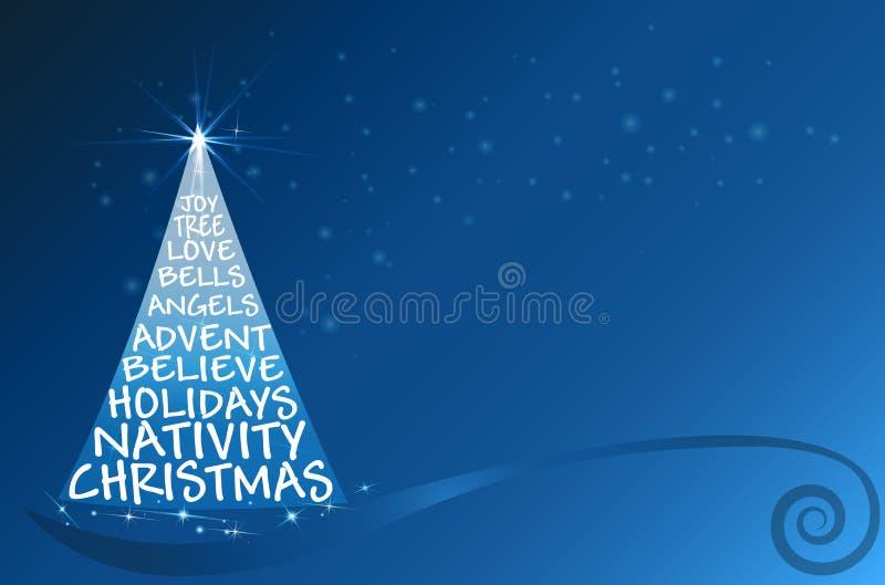 Cartão do azul dos cumprimentos do vetor da árvore de Natal ilustração stock