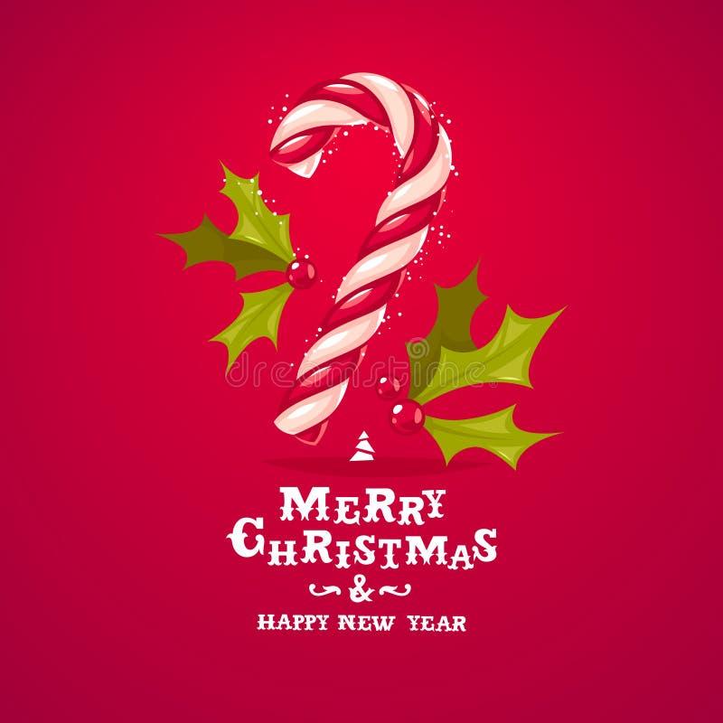 Cartão do bastão e do azevinho de doces do Natal ilustração stock