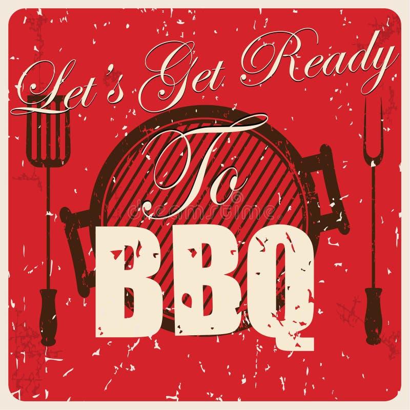Cartão do BBQ do vintage,