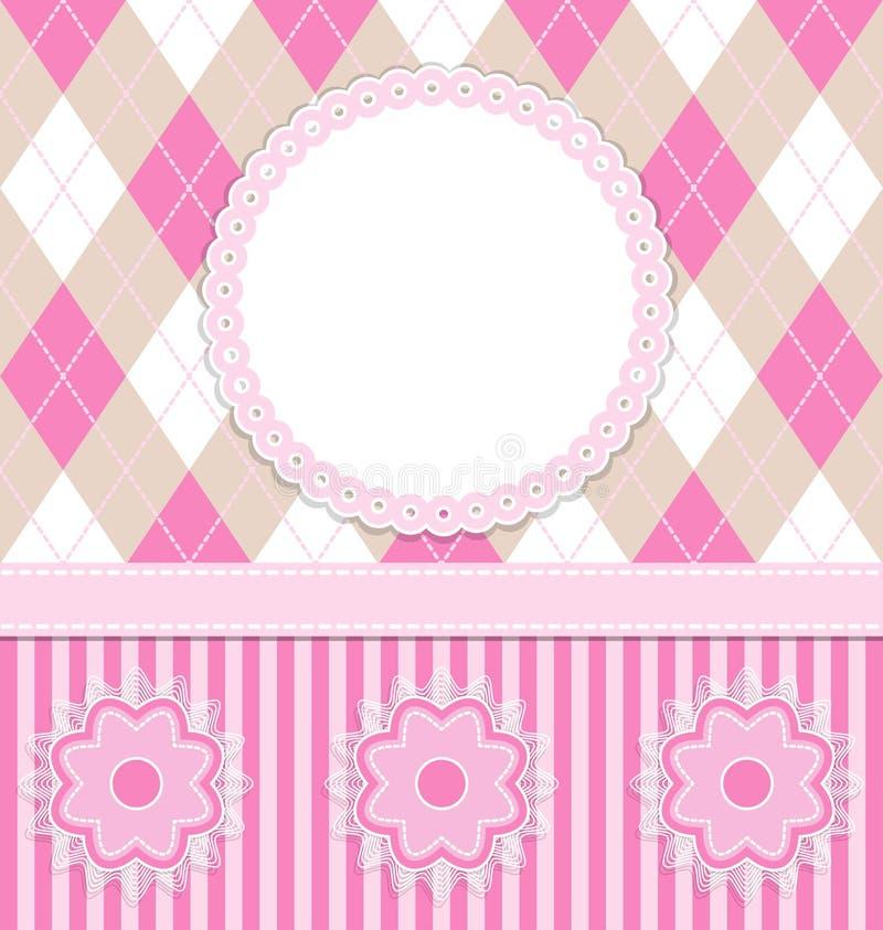Cartão do bebé com flores ilustração stock