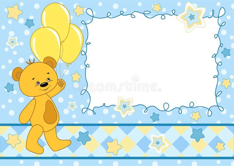 Cartão do bebê com urso de peluche. ilustração royalty free