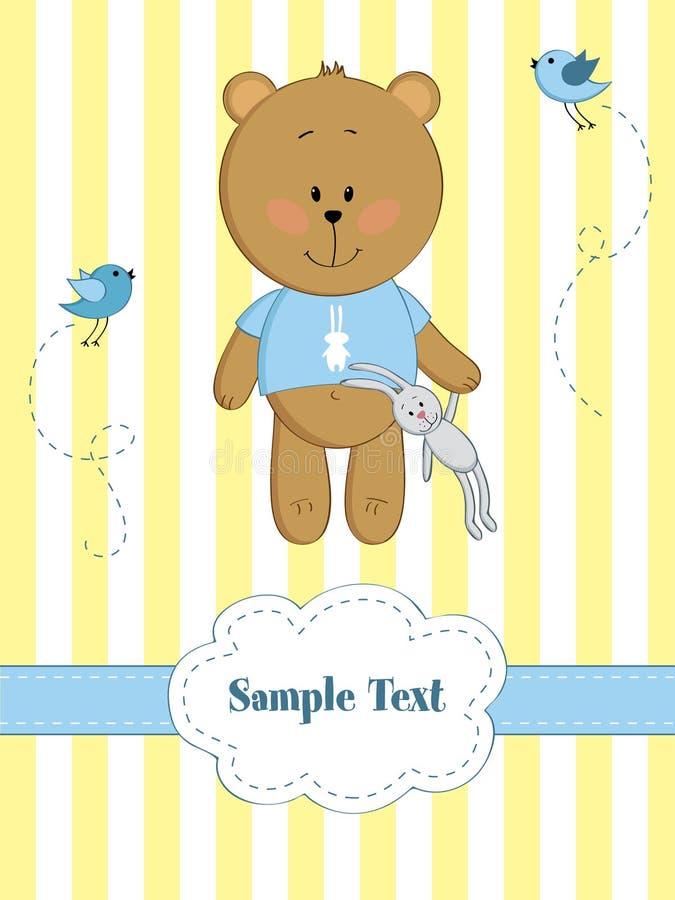 Cartão do bebê com urso de peluche ilustração do vetor