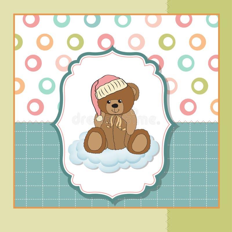 Cartão do bebê com urso de peluche ilustração stock