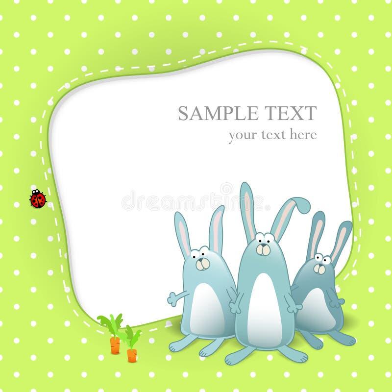 Cartão do bebê do vetor com coelhos dos desenhos animados ilustração do vetor