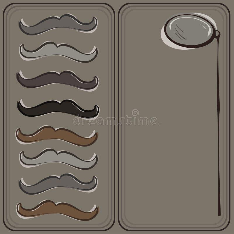 Cartão do bigode e do monóculo do moderno imagens de stock royalty free