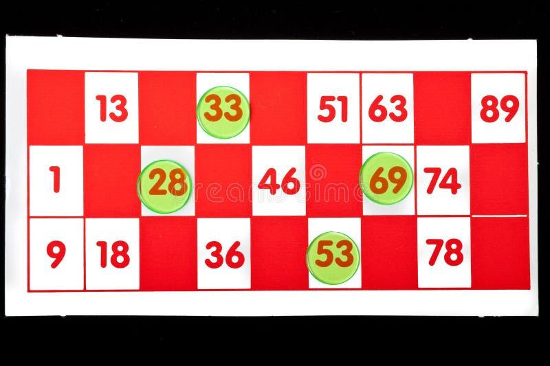 Cartão do Bingo fotografia de stock royalty free
