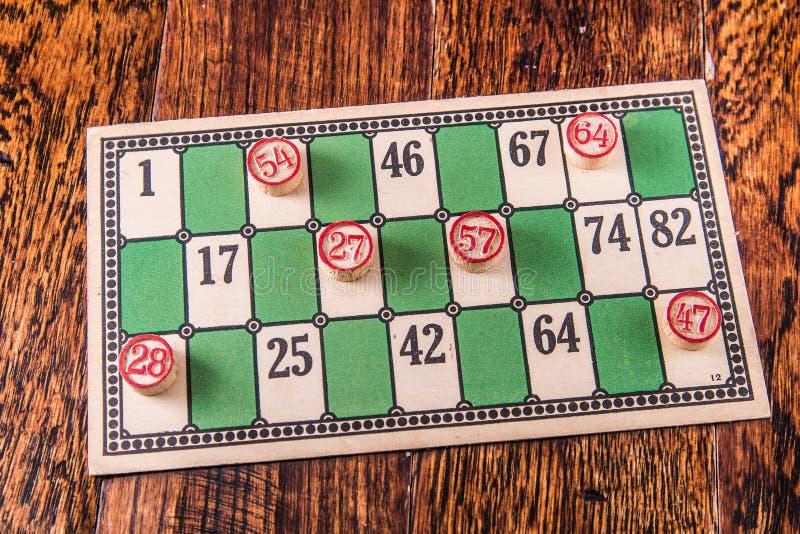 Cartão do Bingo do vintage fotos de stock royalty free