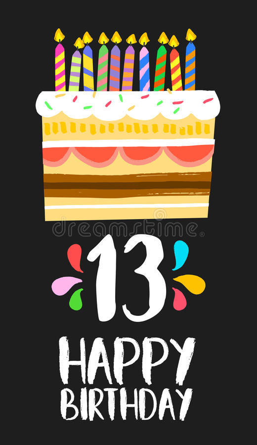 Cartão 13 do bolo do feliz aniversario partido de treze anos ilustração royalty free
